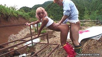 Asian farm slut gets to be fucked from the back hard 8 min